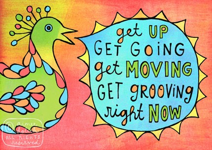 get moving 5x7 doodle print