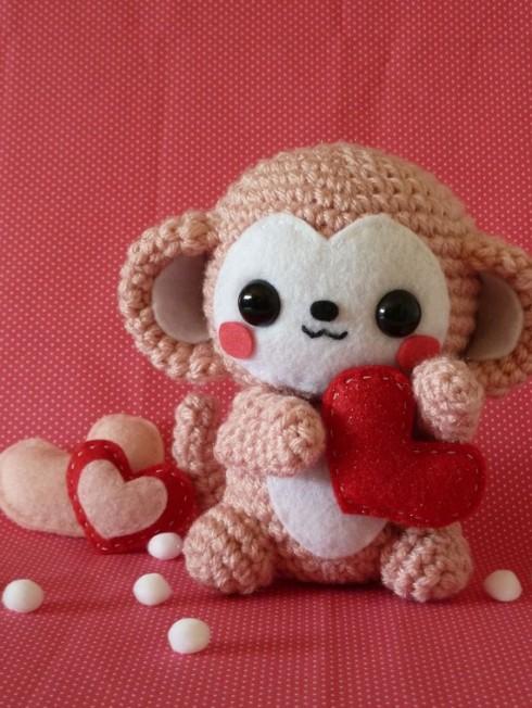 Valentine's Day Monkey Amigurumi