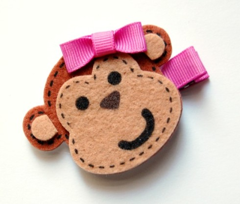 felt monkey hairclip