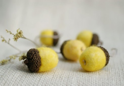 Felted Wool Acorns in Lemon Yellow