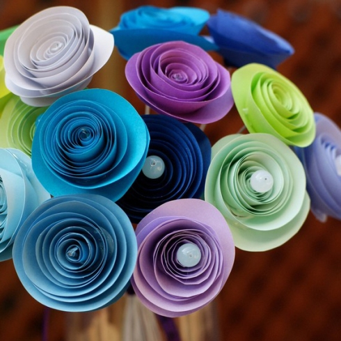 april showers paper rosettes bouquet