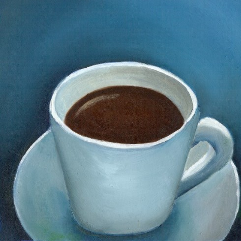 First Cup 8x8 Print of Original Oil Painting