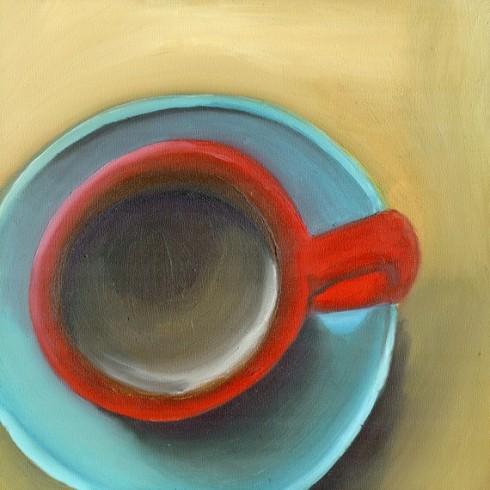 Red Coffee Cup 8x8 Print