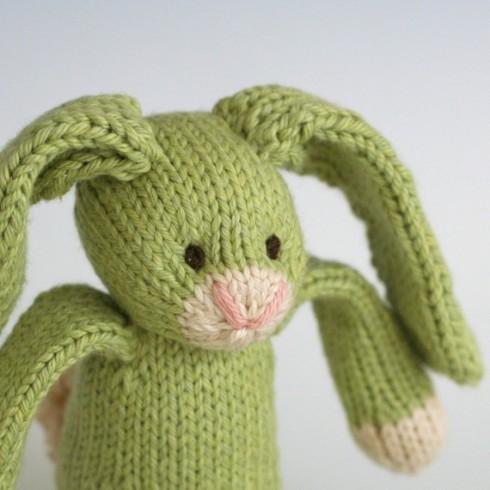 Green Tea Bunny - Hand Knit Organic Cotton Toy Rabbit