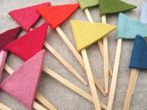 Colorful Felt Flag Toppers by Mayi Carles